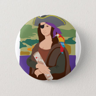 Mona Lisa Pirate 6 Cm Round Badge