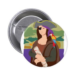 Mona Lisa Pirate 6 Cm Round Badge