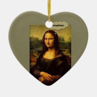 Mona Lisa Porcupines Ceramic Ornament