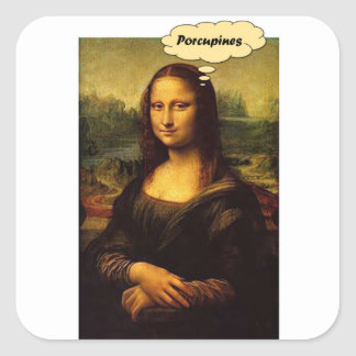 Mona Lisa Porcupines Square Sticker