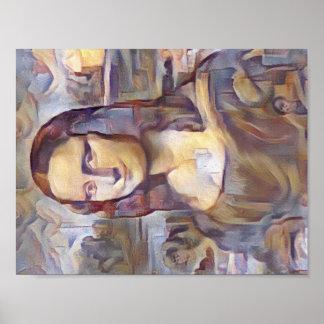 Mona Lisa Post-Impressionist Reinterpretation Poster