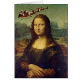 Mona Lisa Santa's Sleigh Christmas Card