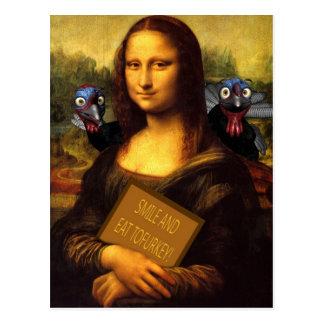 Mona Lisa Says: Smile And Eat Tofurkey Postcard