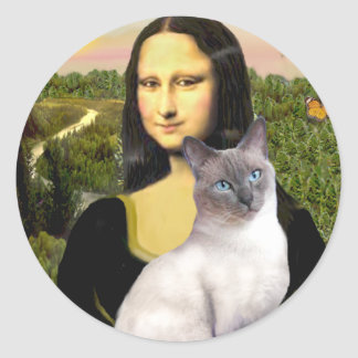 Mona Lisa - Siamese 24 (blue point) Classic Round Sticker