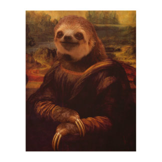 Mona Lisa Sloth Wood Canvas