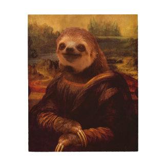 Mona Lisa Sloth Wood Print