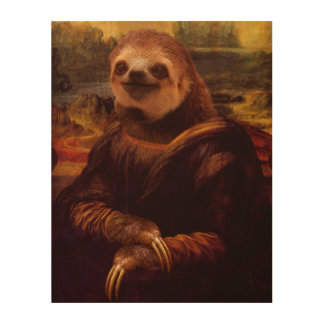 Mona Lisa Sloth Wood Prints