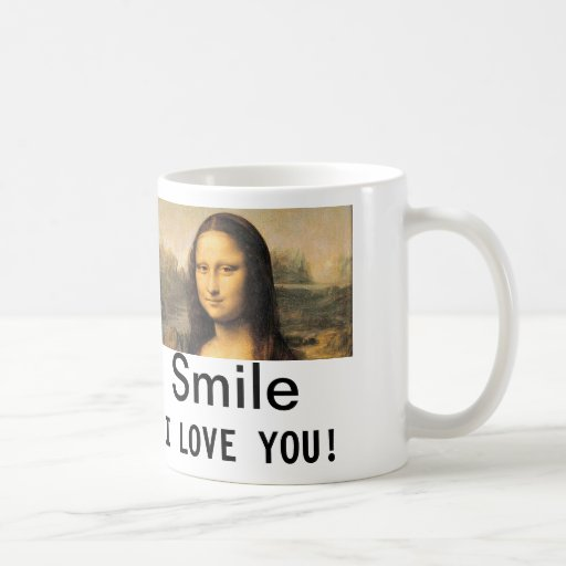 Mona Lisa, Smile, I love you! Classic white mug