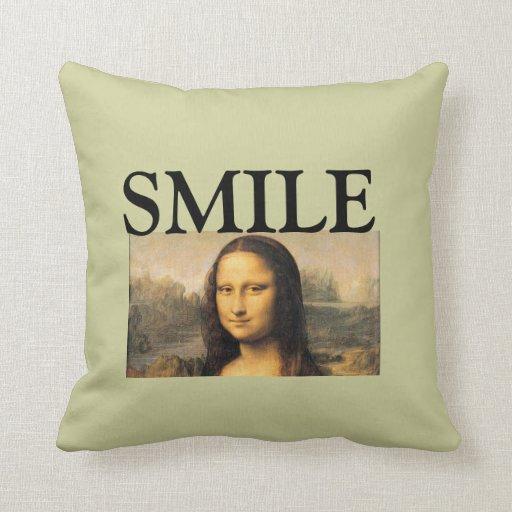 Mona Lisa, SMILE, throw pillow