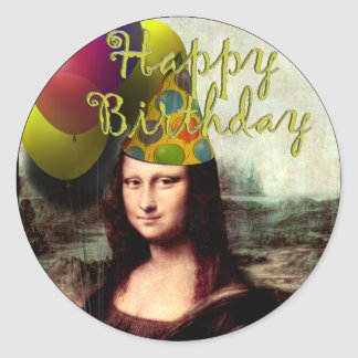 Mona Lisa -  The Birthday Girl Classic Round Sticker