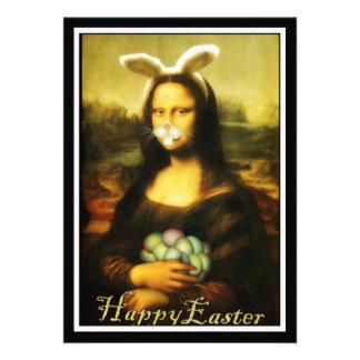 Mona Lisa The Easter Bunny Invitations
