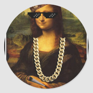 Mona Lisa Thug Life Art Life Classic Round Sticker