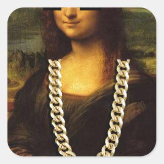 Mona Lisa Thug Life Art Life Square Sticker