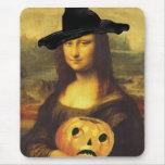 Mona Lisa Witch JOL Carved Pumpkin Jack o'lantern Mouse Pad