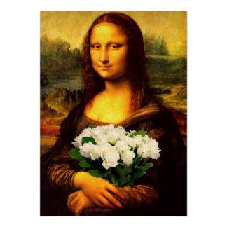 Mona Lisa With Bouquet Of White Roses Print