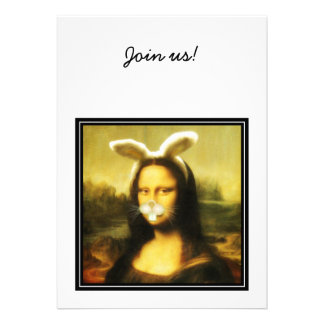Mona Lisa With Bunny Ears Whiskers Personalized Invitations