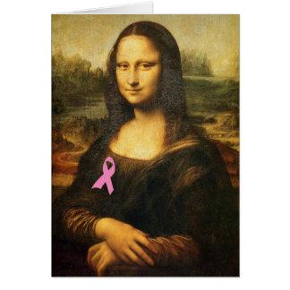 Mona Lisa With Pink Ribbon Card