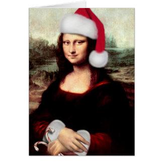 Mona Lisa's Christmas Santa Hat Card