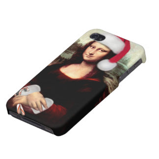 Mona Lisa's Christmas Santa Hat Covers For iPhone 4