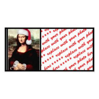 Mona Lisa's Christmas Santa Hat Custom Photo Card