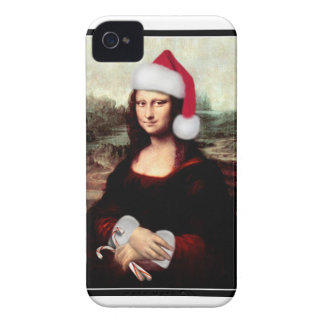 Mona Lisa's Christmas Santa Hat iPhone 4 Case-Mate Case