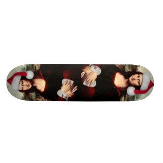 Mona Lisa's Christmas Santa Hat Skate Board