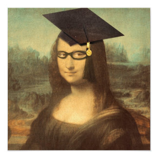 "Mona Lisa's Graduation Day 5.25"" Square Invitation Card"