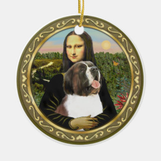 Mona Lisa's Saint Bernard Ceramic Ornament