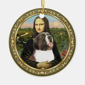 Mona Lisa's Saint Bernard Round Ceramic Decoration
