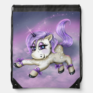MONA UNICORN LOVE CARTOON Drawstring Backpack