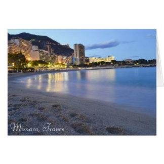 Monaco beach at night card