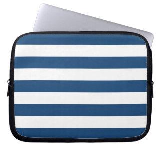 Monaco Blue Stripes Pattern Laptop Sleeve
