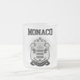 Monaco Coat of Arms Frosted Glass Coffee Mug