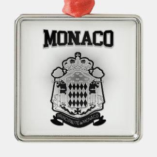 Monaco Coat of Arms Silver-Colored Square Decoration