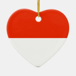 Monaco Flag Ceramic Heart Decoration