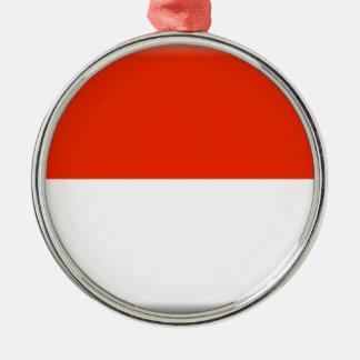 Monaco Flag Silver-Colored Round Decoration