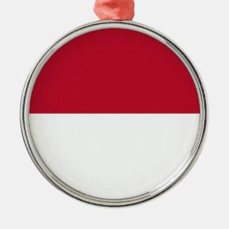 Monaco_flag Silver-Colored Round Decoration