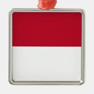 Monaco_flag Silver-Colored Square Decoration