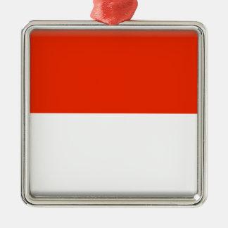 Monaco Flag Silver-Colored Square Decoration