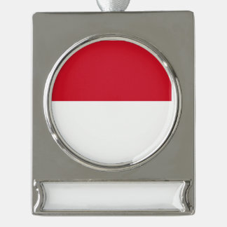 Monaco Flag Silver Plated Banner Ornament