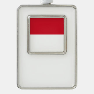 Monaco Flag Silver Plated Framed Ornament