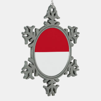 Monaco Flag Snowflake Pewter Christmas Ornament