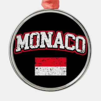 Monaco Flag vintage Metal Ornament