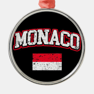 Monaco Flag vintage Silver-Colored Round Decoration