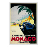 Monaco Grand Prix Car Race Travel Art Print