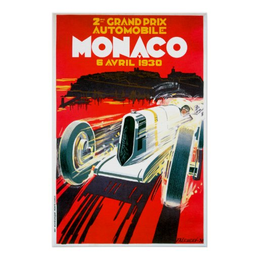 Monaco Grand Prix Race~ Vintage Automobile Ad Poster