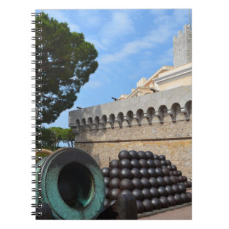 Monaco Palace - cannonballs and cannons Spiral Notebook