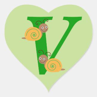 Monagram letter V brian the snail heart stickers