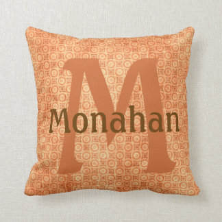 Monagramed Burnt Orange Throw Pillow