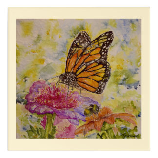 Monarch-Bumblebee Watercolor 12x12 Print Acrylic Print